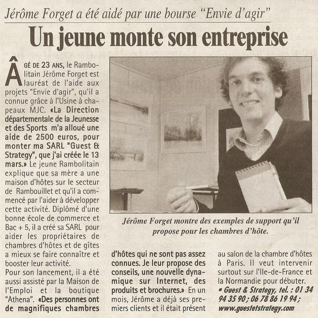 Un jeune monte son entreprise - Les Nouvlles n° 3253 mercredi 28 avril 2010